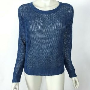 Eileen Fisher Blue Scoop Neck  Long Sleeve Sweater